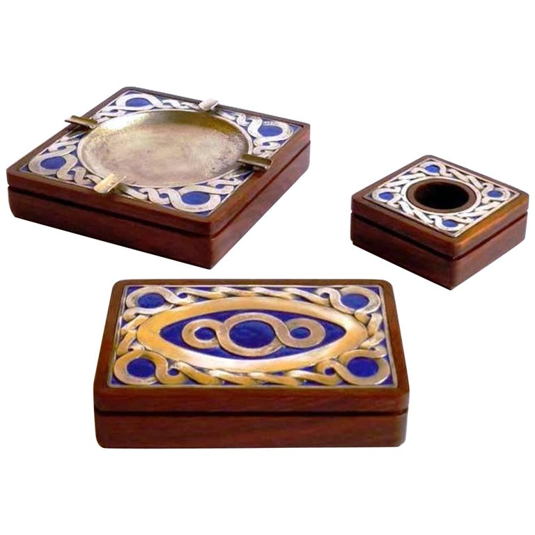 Fantastic Smoking Set, by Ottaviani, Silver, Enamel and Wood, Italy, Late 1970s