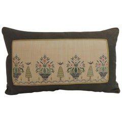 19th Century Turkish Embroidery Lumbar Decorative Pillow