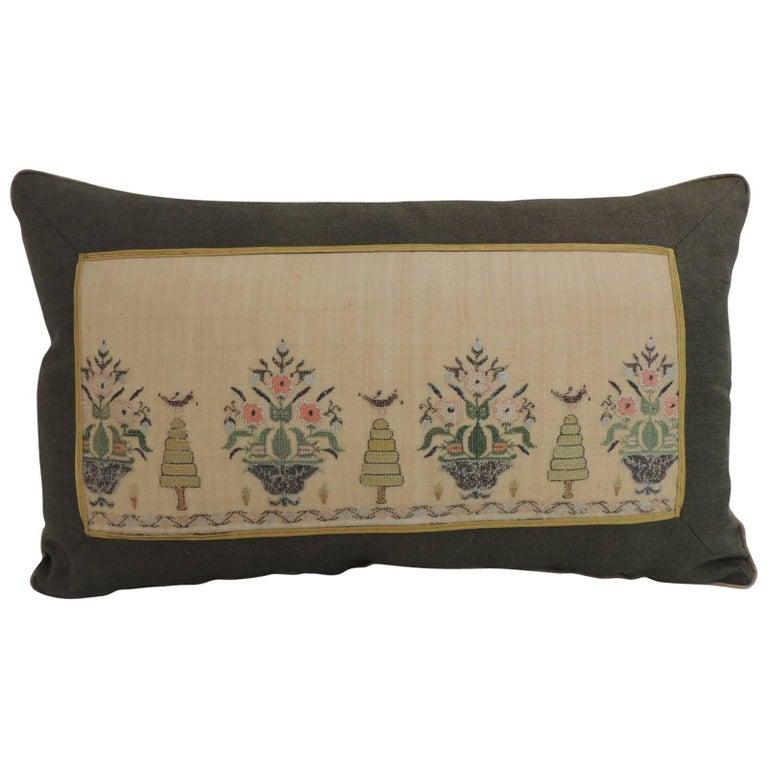 19th Century Turkish Embroidery Lumbar Decorative Pillow