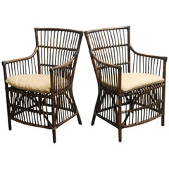 Pair of Asian Bamboo and Rattan Armchairs