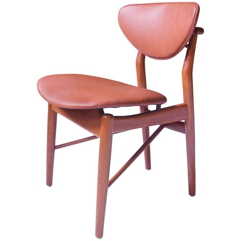Finn Juhl Side Chair Model-108 in Teak and Leather; Denmark, 1946