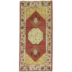 Vintage Turkish Oushak Rug in Deep Red and Yellow