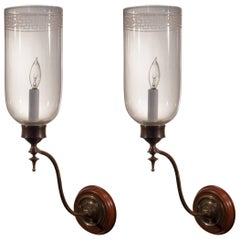Pair of 19th Century English Hurricane Shade Wall Sconces with Greek Key Design