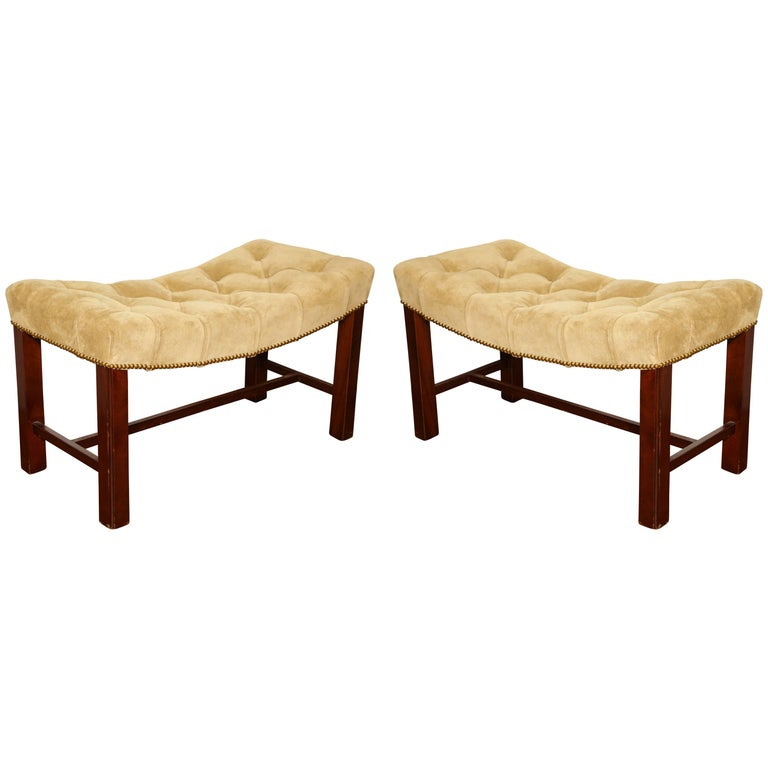 Pair of Chippendale Style Benches For Sale