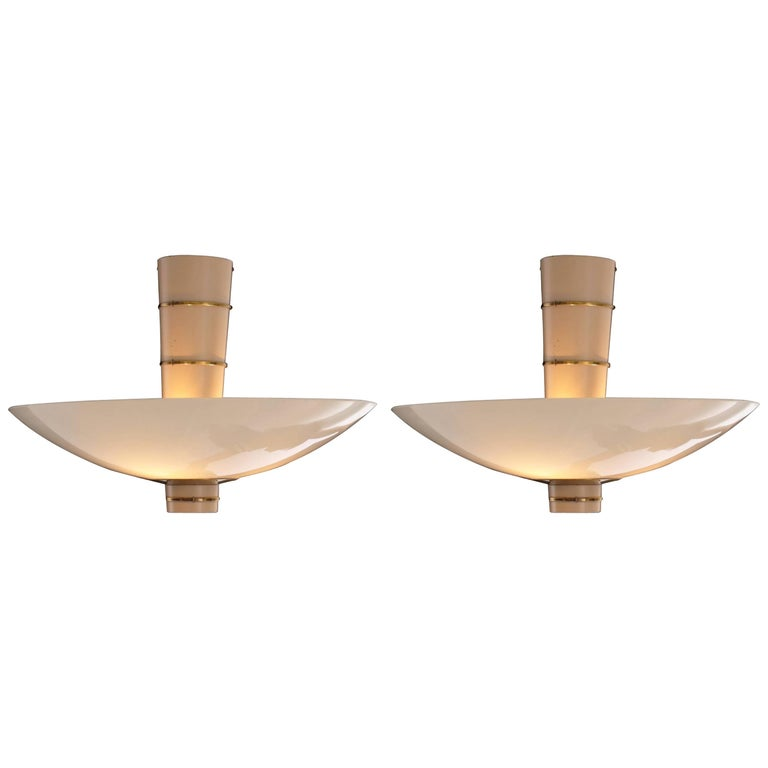 Paavo Tynell Pair of Ceiling Lamps Model 9055 for Taito Oy, 1940 For Sale