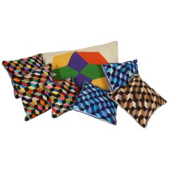 Assortment of Vintage Falling Block Needlepoint Pillows