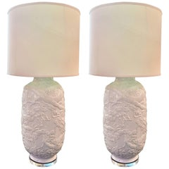 Pair of Asian White Ceramic Lamps