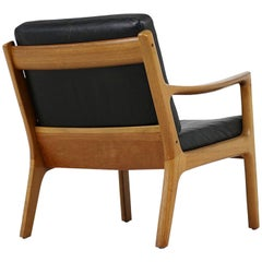 1960s Danish Modern Vintage Lounge Chair Ole Wanscher Teak & Black Leather No. 3