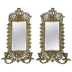 1960s Virginia Metalcrafters Rococo Style Double-Arm Mirrored Sconces, Pair