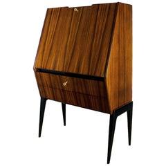 1950s Dry Bar, Walnut, Mahogany, Opaline, Drop-Leaf Door, Italy