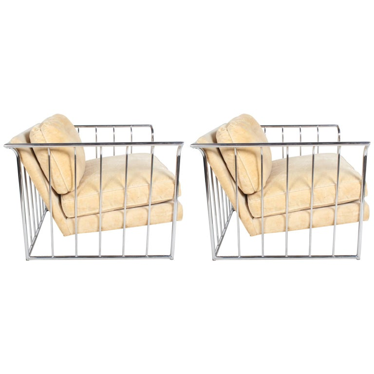 Pair of Milo Baughman Style Chrome Cube Lounge Chairs 1