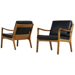 Pair of 1960s, Danish Vintage Lounge Chairs Ole Wanscher Teak and Black Leather