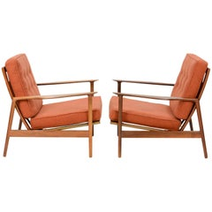 Ib Kofod-Larsen Club Chair for Selig in Teak and Burnt Orange Danish Wool