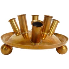 Erich Kolbenheyer Wien, Austria Signed, 1960s Brass Candle Holder