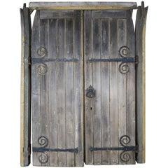 Pair of Monumental Spanish Barn Doors with Iron Hardware