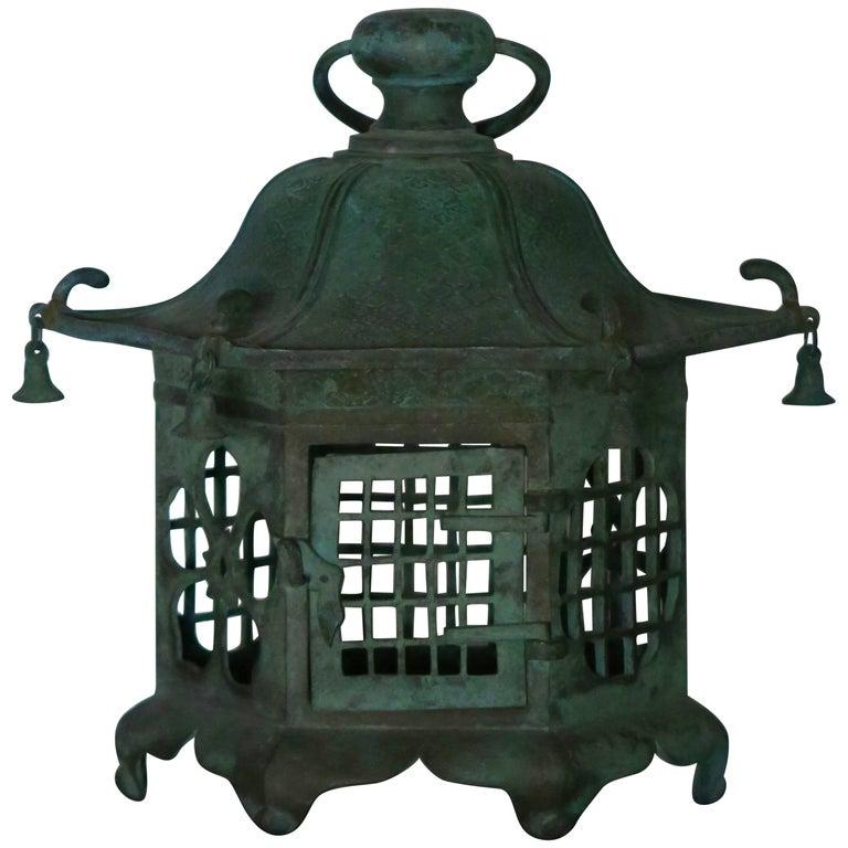Japanese Verdigris Bronze Pagoda Lantern