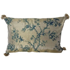 Mid-20th Century Continental Blue Floral Bronze Silk Pillow