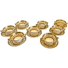 Gilt Minton Bouillon Cups and Saucers, Set of Eight