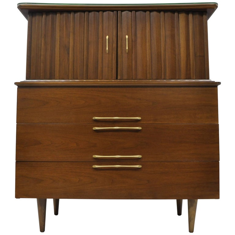 Mid Century Modern Danish Walnut Angled Top Gentleman Tall Chest Dresser Cabinet For