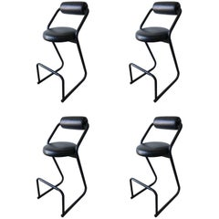 Set of Four Post-Modern Amisco Barstools for Créations Gibo