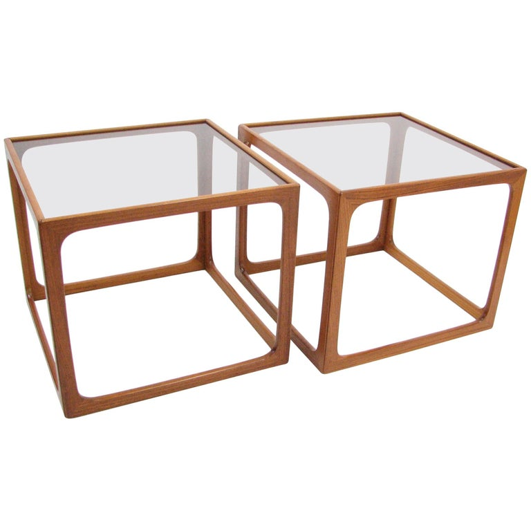 Pair of Teak and Smoked Glass Tables in the Manner of Poul Hundevad For Sale
