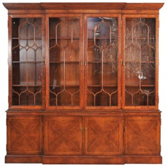 Four-Door Walnut Breakfront Display Cabinet
