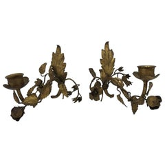 1960s Italian Florentine Gilded Floral Motif Wall Sconces, Pair