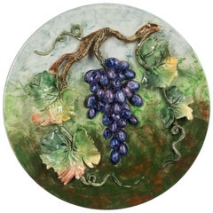 19th Century French Barbotine Wall Platter with Grapes