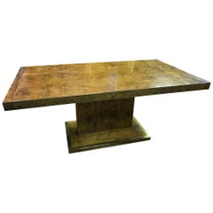 Burl Elm Wood Dinning Table with Brass Frame