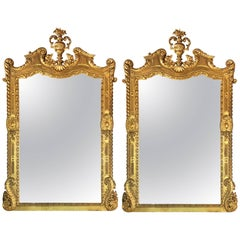 Monumental Pair of Finely Carved Italian Console Mirrors with Finials