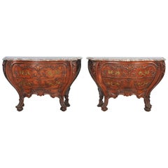 Impressive Pair of Louis XV Style Commodes in Solid Carved Oak with Marble Tops