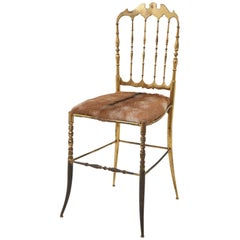 Brass Italian Chiavari Chair with Goat Hide