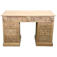 English 19th Century Hand-Carved Oak Desk