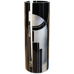 Large Art Deco Geometric Enamel Glass Vase