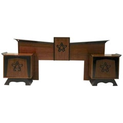 James Mont Style Queen Headboard and Pair of Nightstands