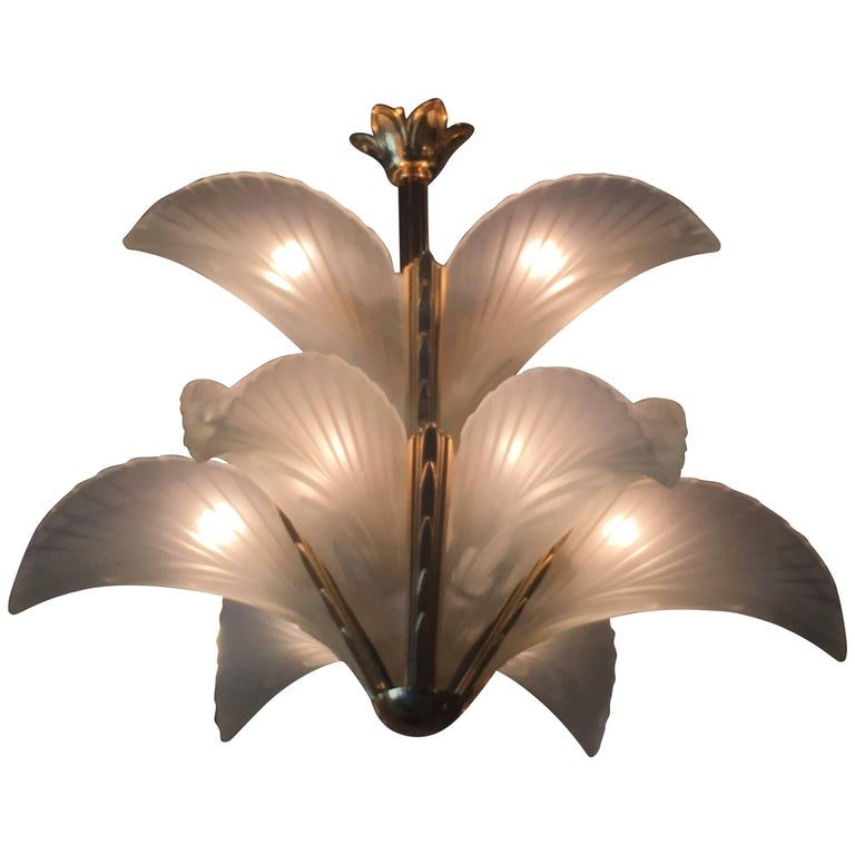Glass Palm Tree Frond Leaves Leaf Chandelier Brass Murano