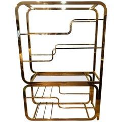 Milo Baughman Design Institute of America Brass and Glass Etagere
