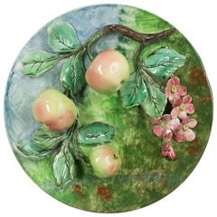 French Majolica or Barbotine Wall Platter with Apples
