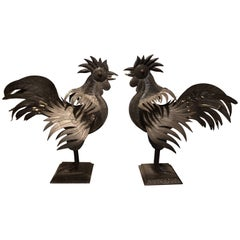 Pair of Antique Mexican Folk Art Tin Roosters