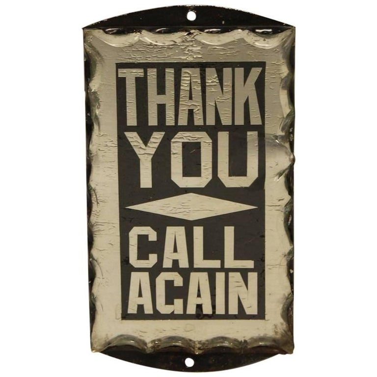 """1930s Reverse Glass Painted Sign """"Thank You Call Again"""""""