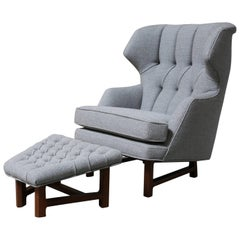 Janus Wing Chair and Ottoman by Edward Wormley