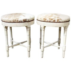 Late 19th Century Pair of French White Painted Stools Upholstered in Cowhide
