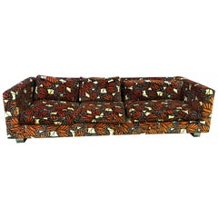 Cityscape Style Sofa With Jack Lenor Larsen Fabric in The Style of Paul Evans