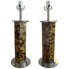 Pair of Karl Springer Inspired Tessellated Horn Lamps