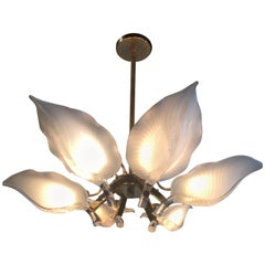 Murano Glass Chandelier by Franco Luce Palm Chandelier Leaf Leaves Frond Brass