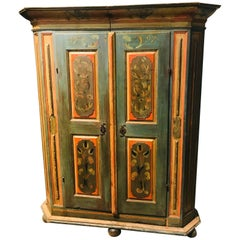 19th Century German Carved and Hand Painted Armoire, circa 1840
