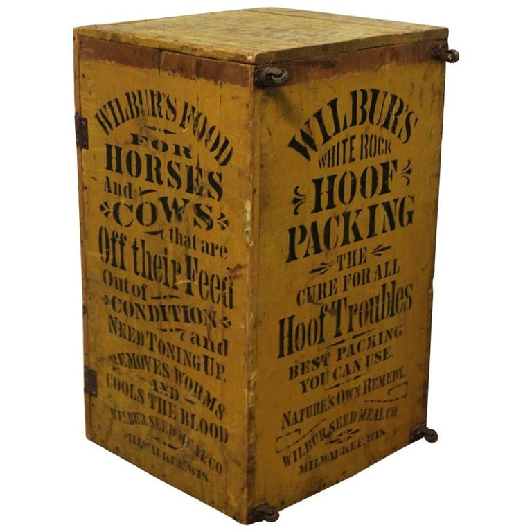 1800s Folk Art Hand Stenciled Advertising Cabinet/Trunk