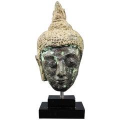 Thai 17th Century Bronze Head of Buddha. Sukhothai