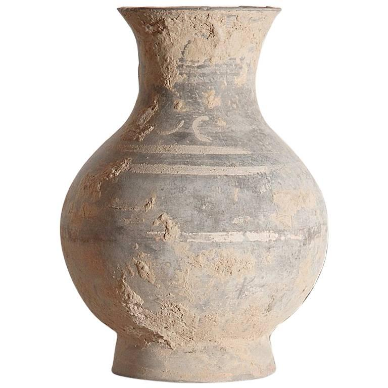 Unglazed Han Dynasty Vase with Decorations