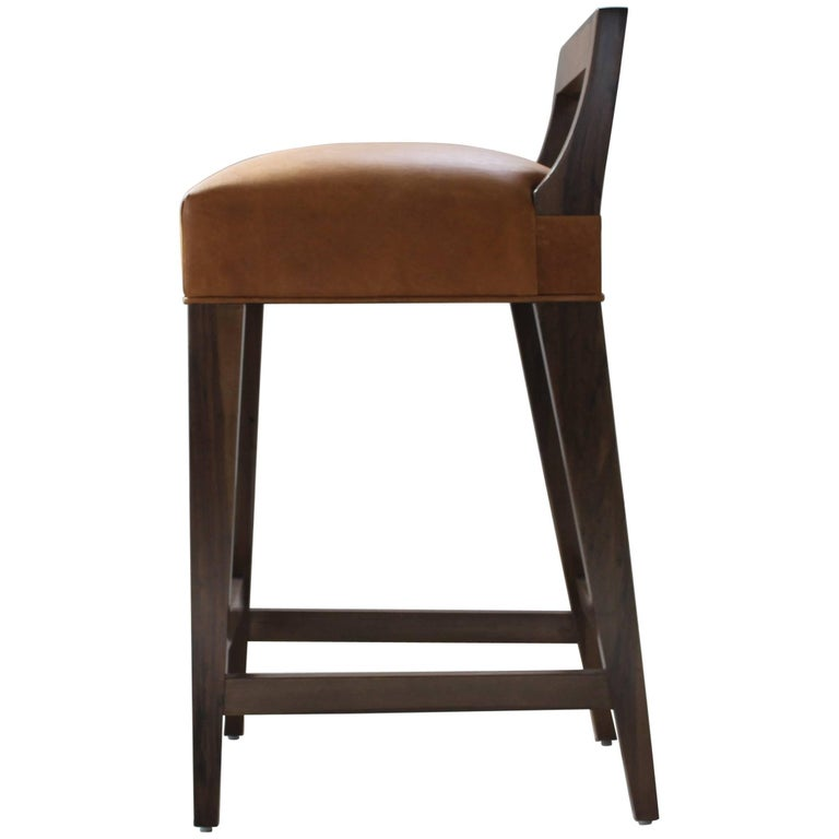 Ecco Stool from Costantini in Argentine Rosewood and Leather For Sale